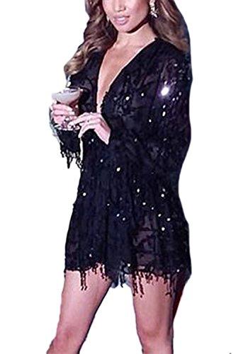 Frauen Sexy Pailletten Langarm schier Maxi Abendkleid Black