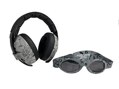 BANZ Ohrenschützer mit Gehörschutz und Sonnenbrille für Babys und Kleinkinder (Kombipaket) grau Doodle (Baby Banz Ohrenschützer)
