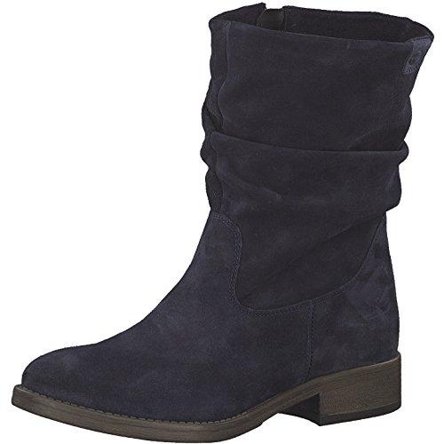 Tamaris Damen Stiefel 25472-21,Frauen Boots,Reißverschluss,Blockabsatz 3cm,Navy,EU 38 - Navy-reitstiefel