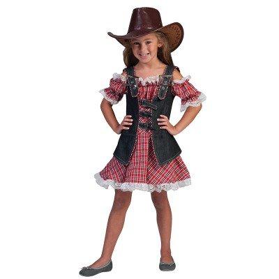 (Kostüm Cowgirl Gr. 140 Komplett Kostüm Kleid rot kariert und Jeansweste)