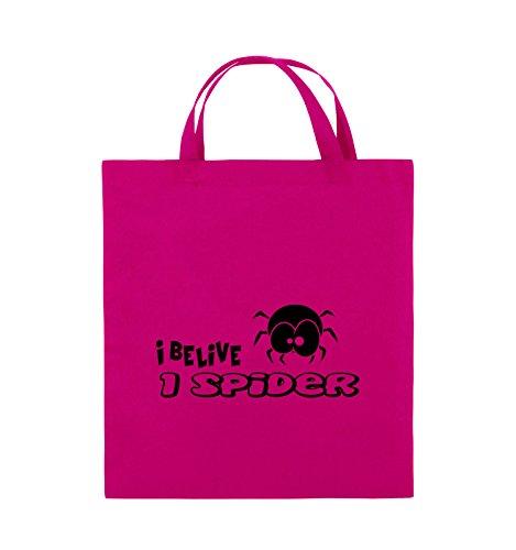 Comedy Bags - I BELIEVE I SPIDER - Jutebeutel - kurze Henkel - 38x42cm - Farbe: Schwarz / Pink Pink / Schwarz