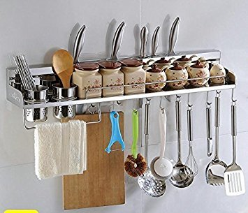 Alicemall Multipurpose Kitchen Utensils Holder Organizer Wall Mounted Pan Pot Rack,Spice Rack Towel rack 2 Cup Utensil Holders (80cm 12 Hooks 2 Cups)