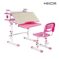 Mecor Kids Desk, Children Study Desk and Chair Set with Tiltable Eye-Protective Desktop, Height Adjustable School Desk Chair With Bookshelf