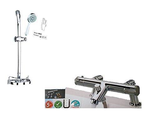Trueshopping Duscharmatur, mit Thermostatventil Wand und deck Montage, mit Dusch-Set. Thermostatic bath  shower mixer set 4