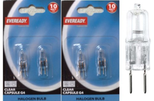 4 x Eveready G4 10W 12V Halogen Capsule Light Bulbs, Dimmable Lamps, 100 Lumen, 3 Years Life, Clear Finish