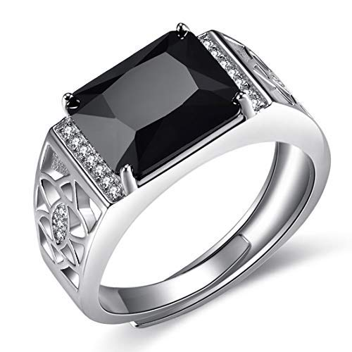 JiangXin Schwarze AAA Zirkonia 925 Sterling Silber Men's ring Luxus Gentleman Ring herren Verstellbar Silberring Öffnung aushöhlen design Best Geschenk Für Männer