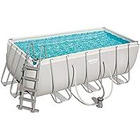 Bestway Power Steel Rectangular Frame Pool Set, viereckig 412x201x122 cm Stahlrahmenpool-Set mit Filterpumpe + Zubehör, grau