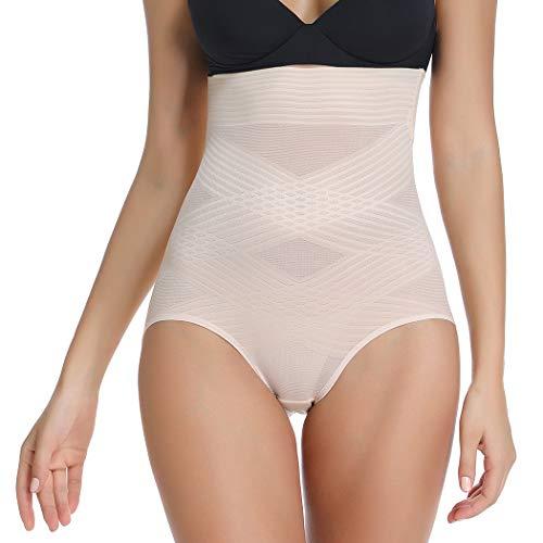 Joyshaper Hoher Taillenformender Höschen für Frauen im Bauch, Figurformende Unterwäsche - Beige - XX-Large