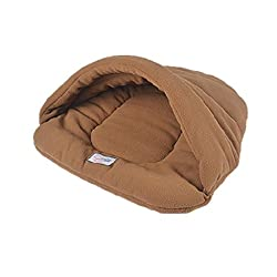 ELECTROPRIME Cat Pets Dogs Soft Comfortable Bed Nest Warm House Cushion Bag Sack Brown L