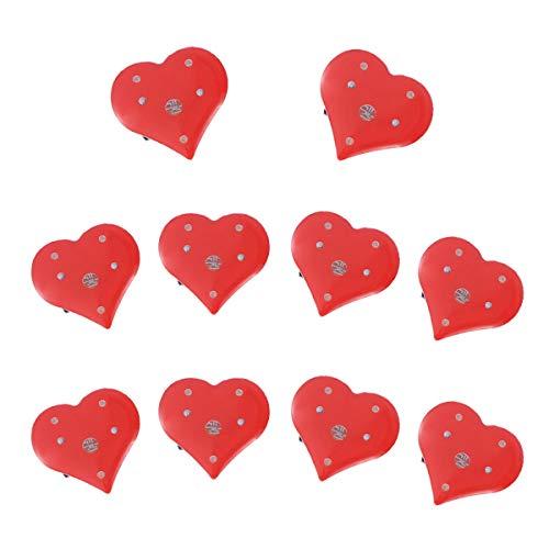 BESTOYARD LED Brosche Herz Form Pins LED Licht Blinky Valentinstag Geburtstag Abzeichen Party Schmuck Gastgeschenk 10 Stück (Rot)