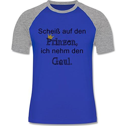 Statement Shirts - Scheiß auf den Prinzen, ich nehm den Gaul - zweifarbiges Baseballshirt für Männer Royalblau/Grau meliert