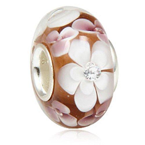 Fiore in vetro di Murano, con nucleo in argento Sterling 925Pandora