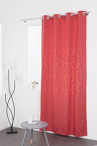 Rideau Jacquard Coton Motif Fleur Baroque Rouge