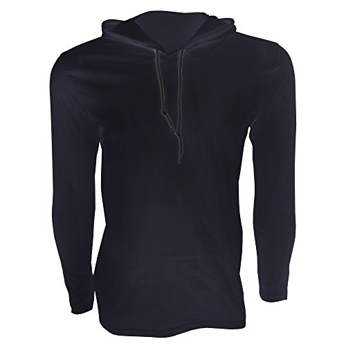 Anvil Herren Fashion Longsleeve / T-Shirt mit Kapuze, Langarm Marineblau/Dunkelgrau