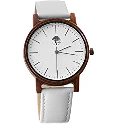 Viable Harvest Men's Wood Watch, Natural Red Sandalwood with Genuine White Leather Strap and Gift Box