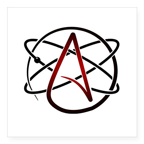 CafePress - Modern Atheist Atomic Color Sticker - Square Bumper Sticker Car Decal, 3x3 (Small) or 5x5 (Large) by CafePress