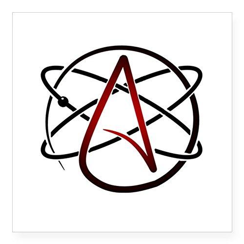 CafePress Modern Atheist Atomic Farbe Aufkleber quadratisch Aufkleber 3x 3, weiß, 3 x 3