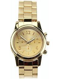 Estone – Mujer Girsl Unisex delicado Charm Geneva Acero Inoxidable Cuarzo Relojes de pulsera. oro rosa