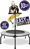 Happy Jump Trampolino Fitness Elastico Pieghevole 103 cm con Maniglia per Adulti Adolescente Bambino Mini Indoor Outdoor Giardino Ginnastica Casa Esercizi Allenamento Rebound