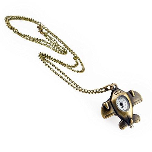TU 66 Uhr mit Flugzeuganhänger und langer Kette in Altgoldoptik, Halskette Modeschmuck, von Kobert Goods