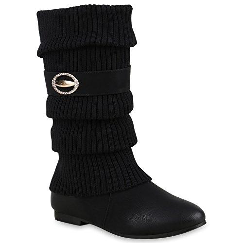 Klassische Stiefel Damen Stulpen Strass Warm Gefüttert Bequem Schuhe 128295 Schwarz Brosche 37 Flandell
