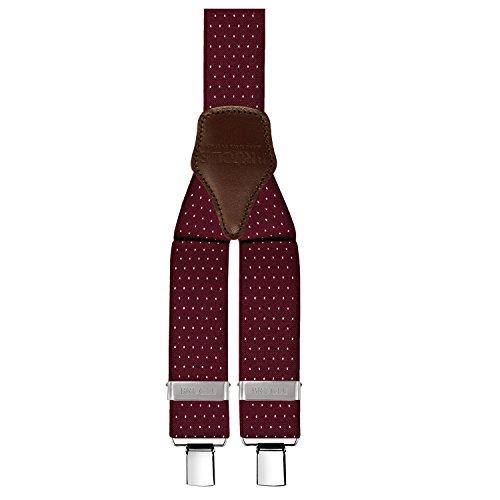 BRUCLE bretelle uomo elastiche regolabili con dorsale cuoio forma Y fissaggio clip colore bordeauxfantasia pois