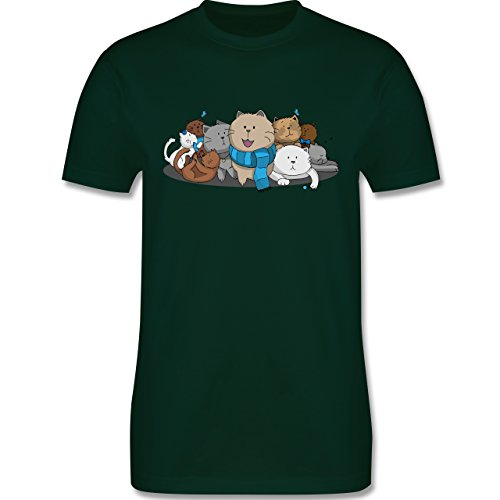 Shirtracer Katzen - Süße Katzen - Herren T-Shirt Rundhals Dunkelgrün