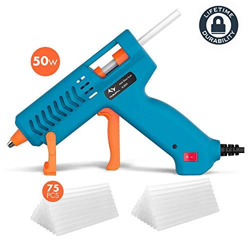 Pistola colla a caldo 【50w】, tilswall pistola incollatrice con 【75pcs】 stick di colla 130mm, glue gun con anti-drip brevetto,165℃ termostatica per progetti artigianali, casa riparazioni (blu)