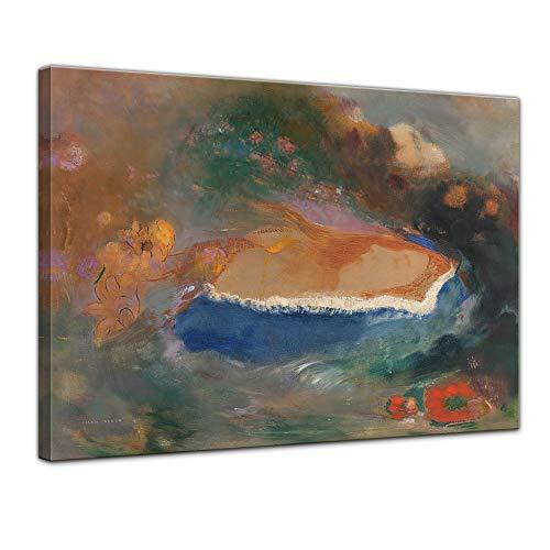 Leinwandbild Odilon Redon Das Blaue Cap (Ophelia) - 50x40cm quer - Wandbild Alte Meister Kunstdruck Bild auf Leinwand Berühmte Gemälde (Französische Herrschaft)