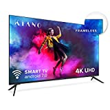 "Kiano Slim TV 50"" Pouces Android TV [127 cm Frameless TV] (4K Ultra HD, HDR, Miracast/Eshare, Smart-TV, Netfilx, Ipla, Youtube, Facebook) Triple Tuner, CI, CI+, PVR, WiFi, Alexa, Classe énergétique A"