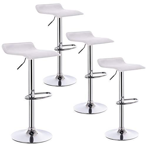 Barhocker Weiß Set (WOLTU 4er Set Barhocker Design Stuhl Drehstuhl Tresenstuhl,stufenlose Höhenverstellung, verchromter Stahl Kunstleder Weiß BH11ws-4)