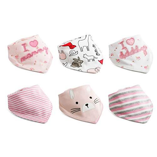Baby Dreieckstuch Lätzchen Mädchen Spucktuch Baumwolle Halstücher mit süßen Motiven in unterschiedlichen Farben, Doppellagig Saugfähig