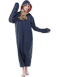 Unisex Animal Pijama Ropa de Dormir Cosplay Kigurumi Onesie Tiburón Negro Disfraz para Adulto Entre 1