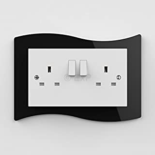 Double Light Switch or Plug Socket Back Plate Finger Surround Panel Black (8 ColoursAvailable) - Free Trolley Token Material Sample Included per Shipment