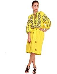 Bordado largo vestido amarillo para mujer. vyshyvanka. ucraniano bordar