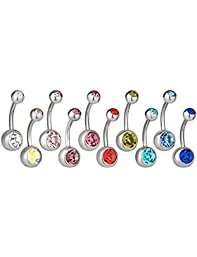 SL-Silver 10er Set Bauchnabelpiercing 10 Farben aus Zirkoniakristallen