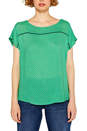 Schlüsselloch-ausschnitt Tunika (edc by ESPRIT Damen 049CC1F005 Bluse, Grün (Dark Green 300), X-Small (Herstellergröße: XS))