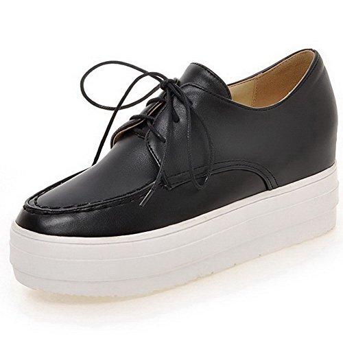 AllhqFashion Damen Mittler Absatz Weiches Material Rein Schnüren Rund Zehe Pumps Schuhe Schwarz
