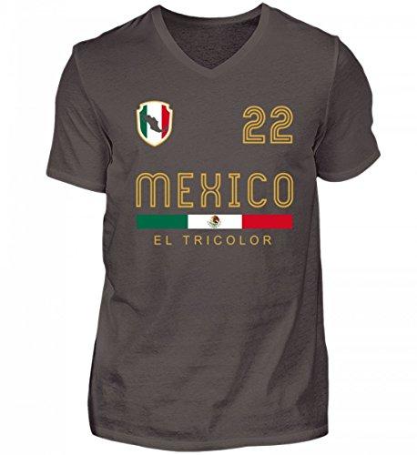 Hochwertiges Herren V-Neck Shirt - Mexiko T-Shirt mit V-Ausschnitt im Retro-Trikot Look für Fußballer - Mexikaner - Geschenk