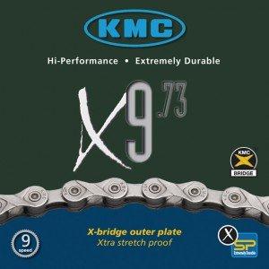 KMC Fahrrad Kette KMC X-9-73 grau 9-fach 18 27 Gang 116 Glieder Karton Shimano Schaltung, 300405 (Kmc X9 Kette)