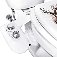 Bidet Toilet Seat Kit Dual Nozzles w/Chrome Handles, Rear and Feminine Soft Wash, Fresh Water Sprayer w/Adjustable Pressure Control, Accessories included Teflon Tape & Wrench. (Twist Knob)