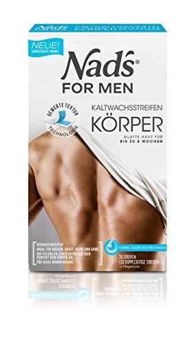 Nad's - Strisce di cera fredda per corpo maschile, confezione da 20