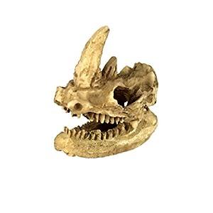MagiDeal Vivarium Ornament Reptile Lizard Basking Hide Cave Aquarium Decor Rhino Skull