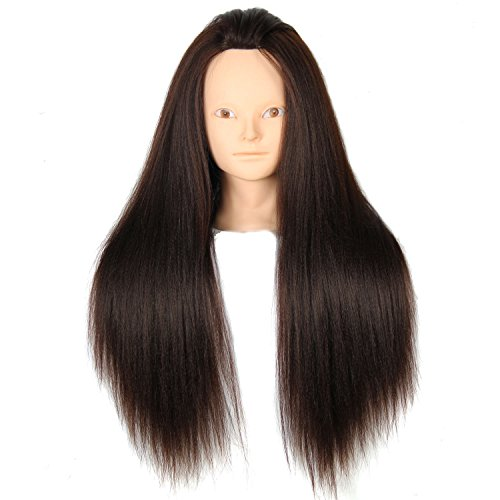 royalvirgin weiblich Mannequin Training Head Hair Yaki Dummy Head Golden Braun 61cm maniqui Friseur Puppe Köpfe Frauen Educational Training Friseur (Billig Puppe Kopf)