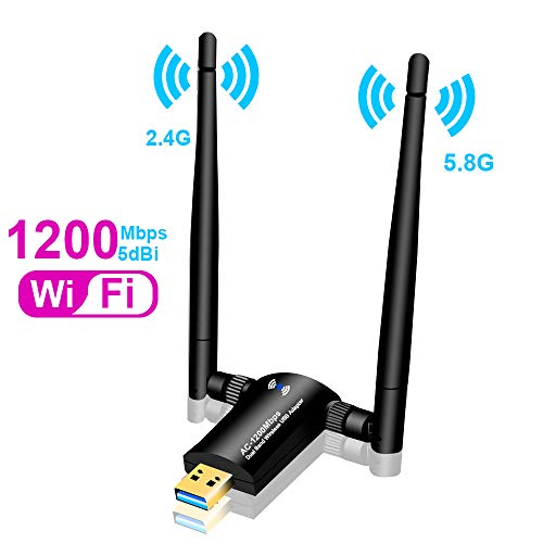 WLAN Adapter 1200 Mbps, WiFi Adapter USB 3.0 mit Dual Band Wireless 5G /2,4G und 5dBi WLAN Antennen für Desktop Laptop PC, Unterstützung von Windows 10/8/7/Vista/XP/2000, Mac OS X Linux (01)