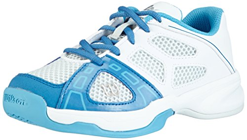 Wilson RUSH PRO JUNIOR, Unisex-Kinder Tennisschuhe, Mehrfarbig (Ice Gray/White/Demin), 39 EU (5.5 Kinder UK)
