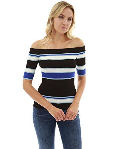 PattyBoutik Damen Farbe Block aus Schulter Strick top (schwarz, weiß und blau 36/S)