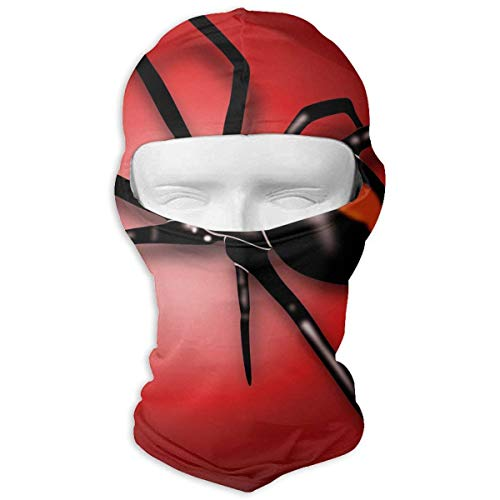 Voxpkrs Black Widow Red Background Winter Hiking Full Face Mask UV Protection Neck Cover Hood for Men and Women