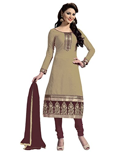 Blissta Beige Chanderi Unstitched Embroidered Dress Material(Diwali special 2017, ,great indian festival sale,festival offer,best deals of the day,traditional for women,sales offers)  available at amazon for Rs.699