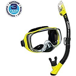 Tusa Imprex 3D Dry Masque sous-marine et tuba - Kit de snorkeling étanche adulte - jaune/noir